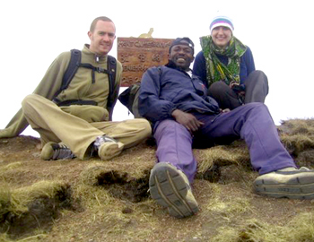 We made it!  Hev, Didimus and me on top of Mt. Cameroon